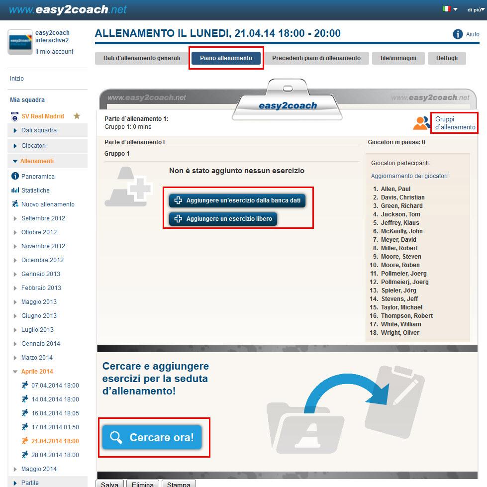 Allenamenti easy2coach help for Crea il mio piano personale
